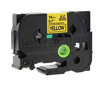 """Brother Compatible TZS641 P-Touch 3/4"""" 18mm Strong Adhesive Black on Yellow Tape"""