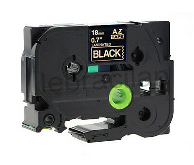 """Brother Compatible TZ344 P-Touch 3/4"""" 18mm Gloss Gold on Black Tape TZ-344"""