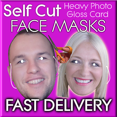 Photo Face Masks SELF CUT KITS Minimum 10 Personalised Made to order STAG HEN