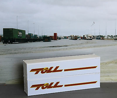Two TOLL 40ft white smooth sided containers in HO scale - new