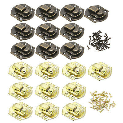 10X Antique Metal Lock Catch Curved Buckle Horn Clasp Hook Jewelry Box Padlock