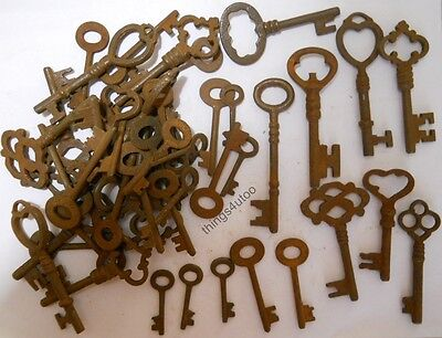 Rusty ornate Skeleton 1800's keys 50 pc lot steampunk #220750