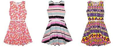 New Girls Aztec Striped Skater Party Summer Dress + Belt Age 7 8 9 10 11 12 13