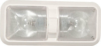 New RV Trailer Camper Bus 12 volt Double Dual  Dome Light Fixture White and LED