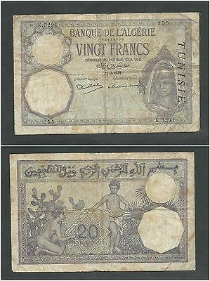 Tunisia 20 Francs 1941 in (VG-F) Condition Banknote P-6b