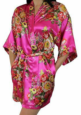 0e84a7409d Ms Lovely Women s Floral Satin Kimono Short Bridesmaid Robe Pockets - Silky  T..