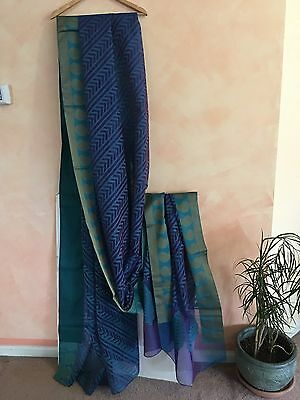 Designer Pakistani Indian 100%Cotton Sari saree  blue/green paisley design