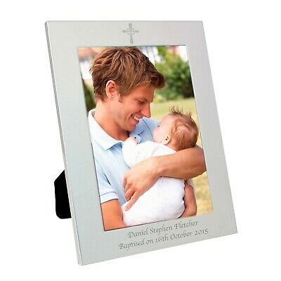 Personalised Silver Cross Photo Frame - Christening Bapstism Engraved Gift