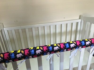 Reversible Baby Cot Crib Teething Rail Cover Protector~ colourful elephants