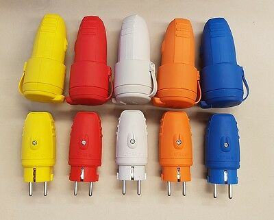 Schuko Rubber Plug Plug and Coupler Set 230V IP44 multiple colours