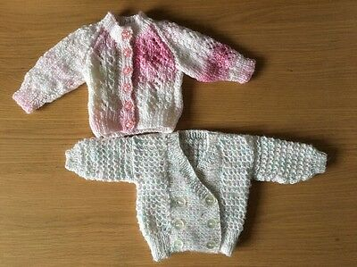 Hand Knitted Pink and Blue Cardigans   0-3 Months