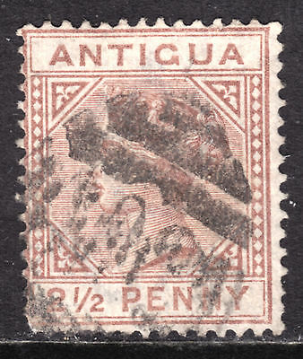 "ANTIGUA #13 2-1/2p RED BROWN, 1882 Wmk.2, VG, ""A02"""