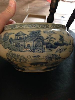 Superb Antique Chinese Blue And White Porcelain Bowl with QianLong Mark .