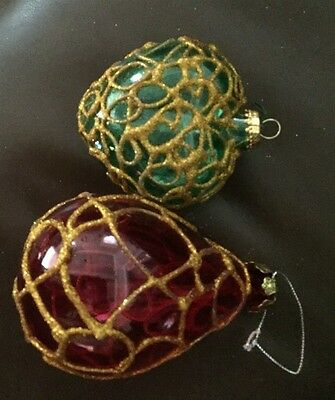 SET OF 2 VINTAGE GREEN & RED WITH GOLD GLITTER HAND BLOWN  Christmas Ornaments