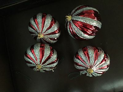 SET OF 4 VINTAGE RED WITH SILVER  GLITTER HAND BLOWN  Christmas Ornaments