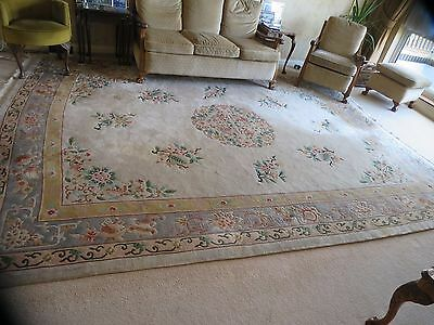 Antique Chinese Wool Luxurious Carpet Rug Large  360cm x 280cm 12x10 Ft