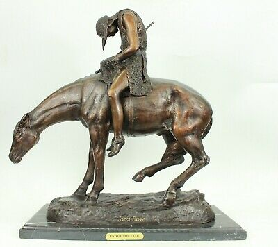End of the Trail Bronze Metal Sculpture by James Fraser Western Art Decor