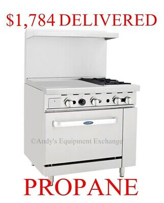 "36"" inch (3 foot) 2 Burner Range with Oven and 24"" left side Griddle Propane Gas"