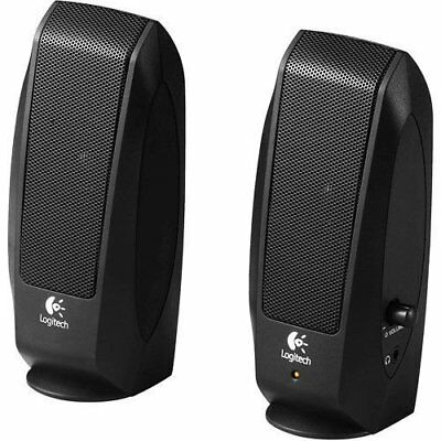 Logitech S-120  Stereo Speaker System With AUX Headphone Jack Black New