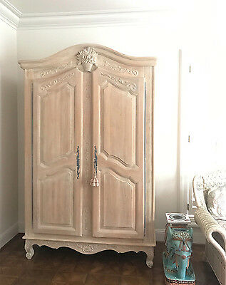 French Wardrobe Armoire TV, Ornate Carved Floral, House Of France,Antique White