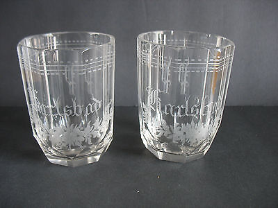 "PR Vintage Cut glass 4"" tumblers etched Crystal KARLSBAD Germany Monogram"