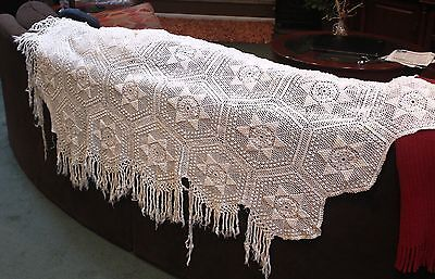 Vintage Antique Off White Hand Made Crocheted Fringed Bedspread (Not completed)