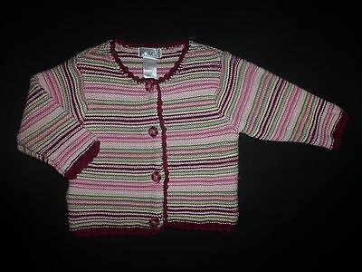 The Children's Place Striped Girls Cotton Cardigan Sweater Size 6-9 Months