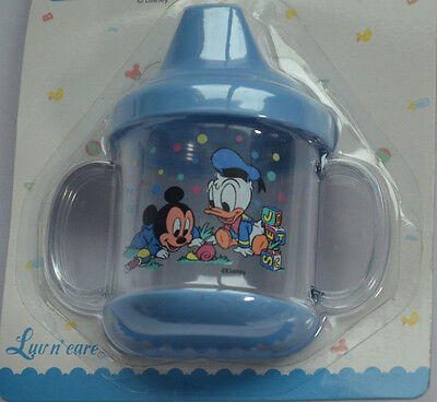Disney Babies Toddler Sippy Cup Non Spill Beaker MICKEY MOUSE DONALD BLUE New