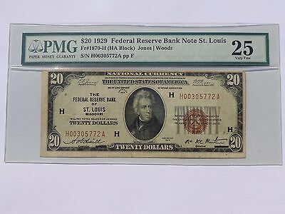 1929 $20 Twenty Dollar Bill National Currency Brown Seal Note - PMG VF 25