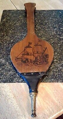 Vintage Fireplace Bellows-Wood/leather/brass-Engraved Sailing Ship-Seymour Mfg