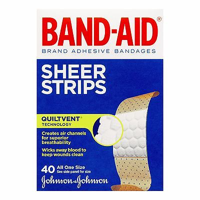 Band-Aid Sheer Strips Assorted Adhesive Bandages 40 Count