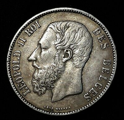 1872 BELGIUM 5 FRANCS - .900 AU - OLD SILVER WORLD Crown Coin