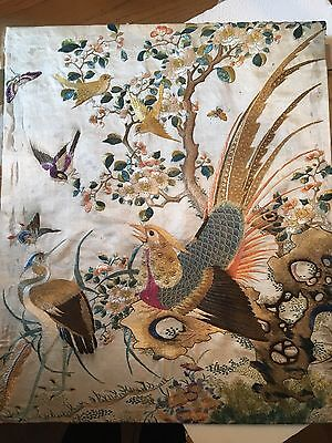 Antique Chinese Silk Embroidered Bird Panel