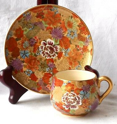 C19Th Japanese Satsuma Hand Painted Coffee Cup And Saucer With Flowers
