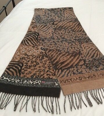100% CASHMERE Animal Free Form DesignGray Tan Brown Scarf MADE IN SCOTLAND