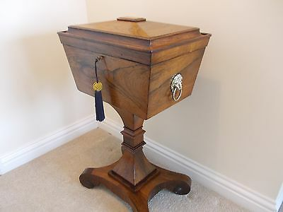 Antique William Iv Rosewood Sewing Box / Teapoy