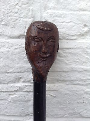 Antique Old Elizabethan Oriental Gentlemen Carved Wooden Head Walking Stick Cane