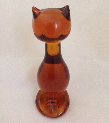 "Amber Colored Solid Glss Figurine Hand Blown Cat 5.5"" Paper Weight Art Deco"