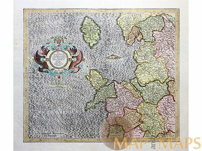 Isle Of Man West Morlandia Mercator atlas Hondius 1633