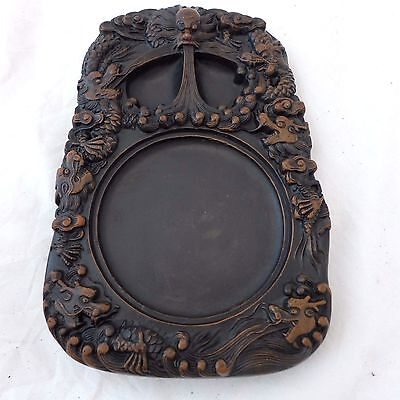 Chinese Shangxi Black Lacquered Chengni 'flying Dragons' Ink Stone Nr