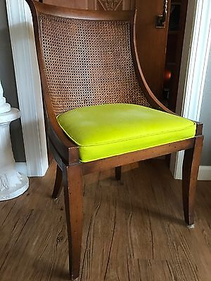 Vintage Wood Chair Scoop Curved Back Wicker Back Rare Soft Seat Chair