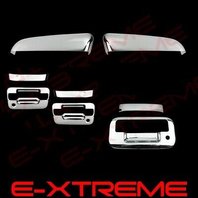 For Ford F150 2004-2008 Black Gloss MIRROR Covers 4 Door Handles W//KP TAILGATE