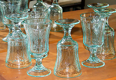 (7) Vintage IN GLASS ~RECOLLECTION~ Green TEAL GOBLETS Embossed Scroll 1982 EX!!