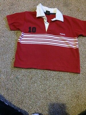 Baby Boys Next Red Rugby Shirt 12-18 Mths (1-1.5 Yrs)