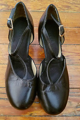 Women's Salsa Dancing Shoes, size 36 (6), Black Leather T-Strap