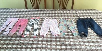 Baby Girls Bundle Of Trousers Leggings Tights Age 9-12 6-12 Months New & VGC