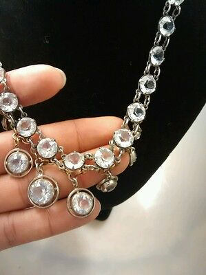 Stunning rare art deco  antique French rock crystal bezels silver  necklace