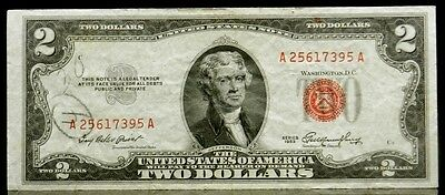 1953 $2 Two Dollar United States Note Red Seal FR 1509 Crisp EF or Better