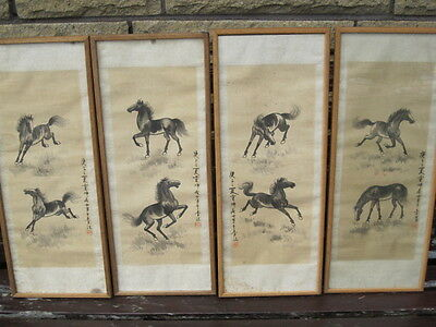 4 x antique chinese water colors hand painted on silk picture - HORSES (52 x 20)