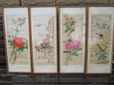 4 x antique chinese water colors hand painted on silk picture - BIRDS (52 x 20)